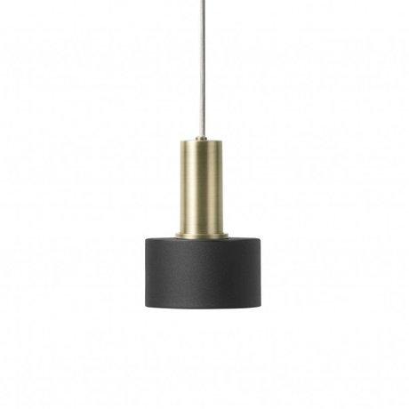 Ferm Living Lampe suspendue Disc Low noir laiton couleur or métal