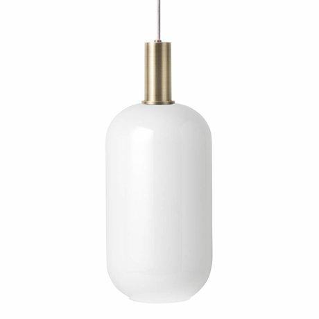 Ferm Living Hængelampe Opal Tall Lav hvid glas messing farvet guldmetal