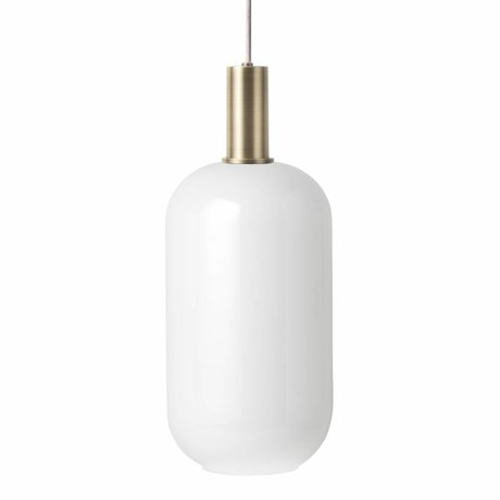 Ferm Living Hängelampe Opal Tall Low weiß Glas messingfarben goldfarben Metall