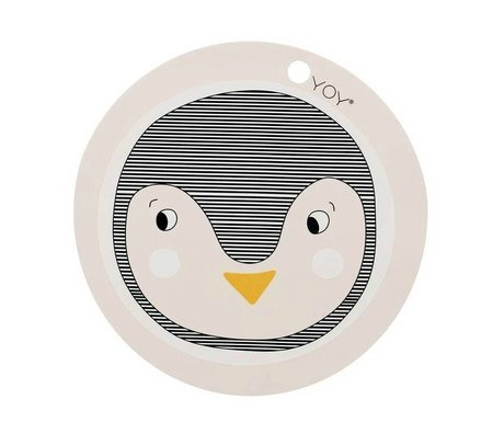 OYOY Placemat Penguin Pink Silicone 39x0,15cm