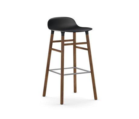 Normann Copenhagen Bar chair shape black brown plastic wood 45x45x87cm