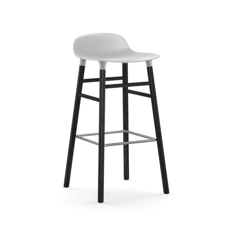 Normann Copenhagen Bar chair shape white black plastic wood 53x45x87cm