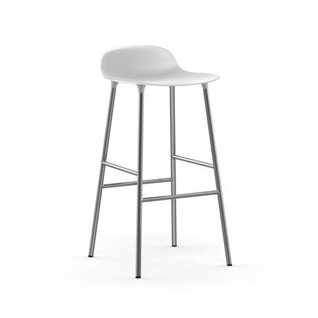 Normann Copenhagen Bar chair shape white plastic chrome 53x45x87cm