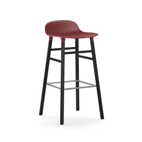 Normann Copenhagen Barstuhl Form rot schwarz Kunststoff Holz 53x45x87cm