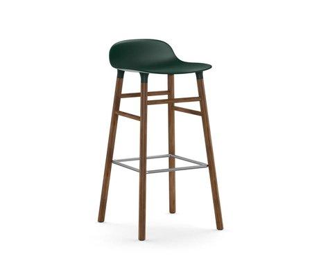 Normann Copenhagen Barstuhl Form grün braun Kunststoff Holz 45x45x87cm