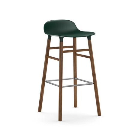 Normann Copenhagen Bar chair shape green brown plastic wood 45x45x87cm