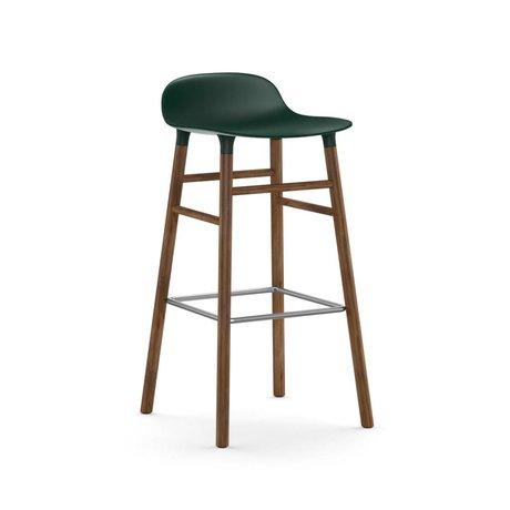 Normann Copenhagen Bar chair shape green brown plastic wood 45x45x87cm