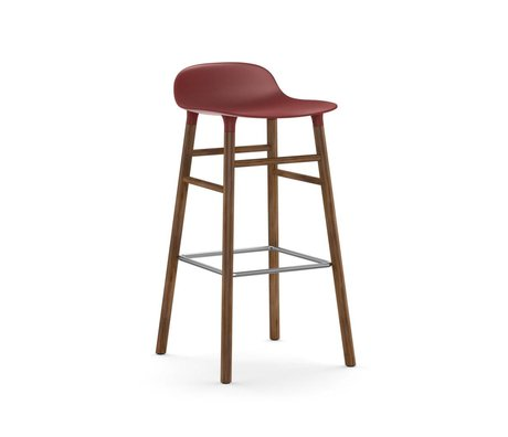 Normann Copenhagen Bar chair shape red brown plastic wood 45x45x87cm