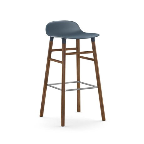 Normann Copenhagen forma Barstool azul marrón 45x45x87cm madera plástica