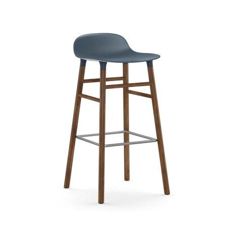 Normann Copenhagen forme Tabouret bleu brun bois plastique 45x45x87cm