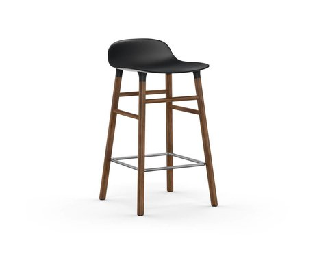 Normann Copenhagen Bar chair shape black brown plastic wood 43x42,5x77cm