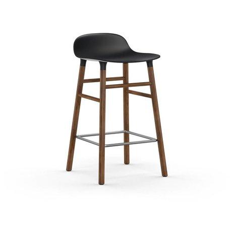 Normann Copenhagen Barstuhl Form schwarz braun Kunststoff Holz 43x42,5x77cm