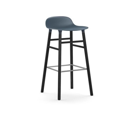 Normann Copenhagen Bar chair shape blue black plastic wood 53x45x87cm