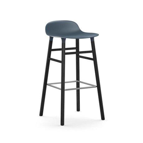 Normann Copenhagen Barstool şekli mavi siyah plastik ahşap 53x45x87cm