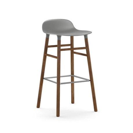 Normann Copenhagen Barstool şekli gri plastik ceviz 87x40,8x42,2cm