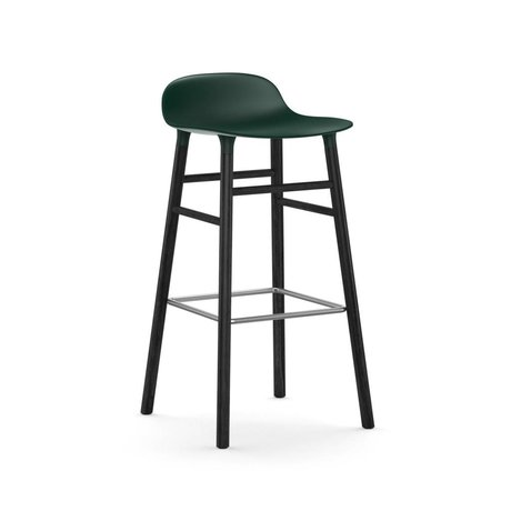 Normann Copenhagen Bar chair shape green black plastic wood 53x45x87cm