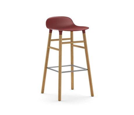 Normann Copenhagen Tabouret forme 45x45x87cm de chêne en plastique rouge brun