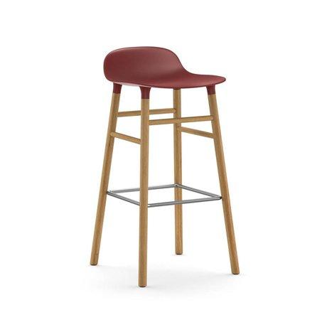 Normann Copenhagen Bar chair shape red brown plastic oak 45x45x87cm