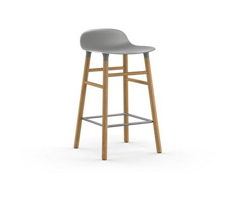 Normann Copenhagen forma de taburete de plástico gris 77x40,8x42,2cm madera de roble