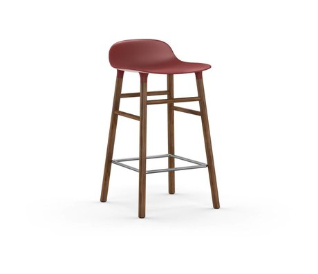 Normann Copenhagen Bar chair shape red brown plastic wood 43x42,5x77cm