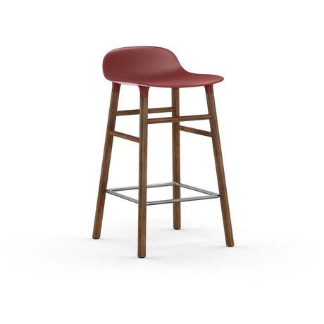 Normann Copenhagen Barstool formu kırmızı kahverengi plastik kereste 43x42,5x77cm