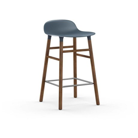 Normann Copenhagen Bar chair shape blue brown plastic wood 43x42,5x77cm