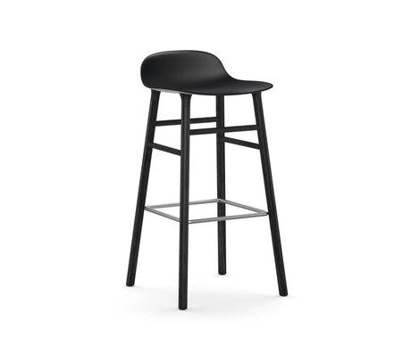 Normann Copenhagen Barstool şekil siyah plastik ahşap 53x45x87cm