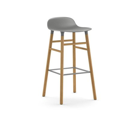 Normann Copenhagen Barstool From gray plastic oak wood 87x40,8x42,2cm