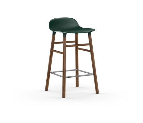 Normann Copenhagen Bar chair shape green brown plastic wood 43x42,5x77cm
