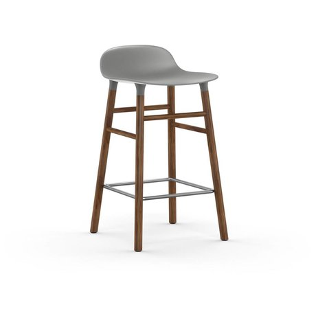 Normann Copenhagen Barstool şekli gri plastik ceviz 77x40,8x42,2cm