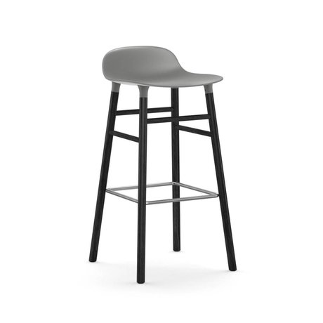 Normann Copenhagen Bar chair shape gray black plastic wood 53x45x87cm