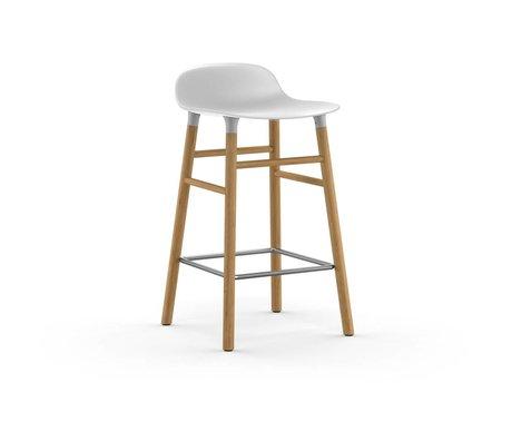 Normann Copenhagen Sgabello forma plastica bianca legno di quercia 77x40,8x42,2cm