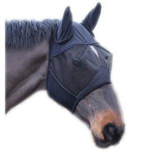 Shires Vliegenmasker met oren Zwart Pony