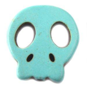 Multicolor Turquoise platte skull kraal 15mm