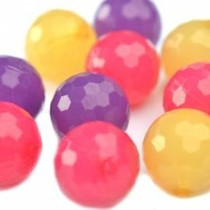 Multicolor Acryl kralen rond facet 16mm - 8 stuks