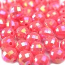 Roze Acryl kralen facet roze AB 10mm - 36 stuks