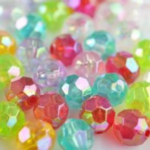 Multicolor Acryl kralen facet rond 8mm - 52 stuks
