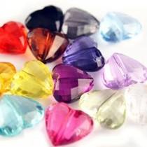 Multicolor Acryl kralen facet hart 16x18mm - 14 stuks