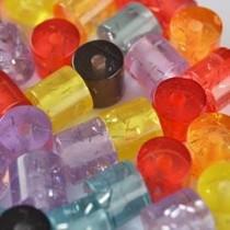Multicolor Acryl kralen buisje glitter 8mm - 36 stuks