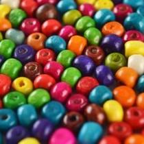 Multicolor Hout kralen rond 6mm - 180 stuks