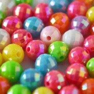 Multicolor Acryl kralen facet rond AB 8mm - 65 stuks