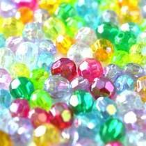 Multicolor Acryl kralen rond facet AB 6mm - 125 stuks