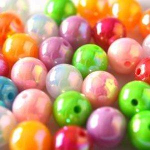 Multicolor Acryl kralen rond AB 12mm - 12 stuks