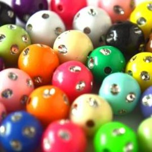 Multicolor Acryl kralen rond bling 10mm - 40 stuks