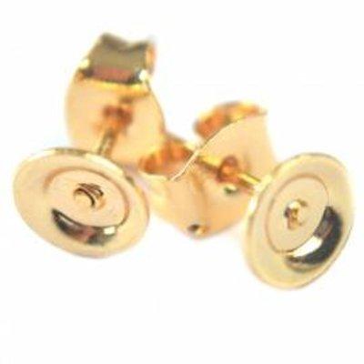 Goud Oorstekers Ø6mm metaal goud (1 paar)