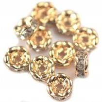 Goud Crystal rondel metaal 5mm