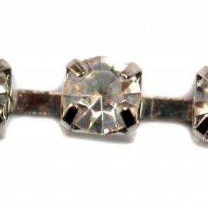 Zilver Strassband kastjes crystal vanaf Ø3mm - per 10cm
