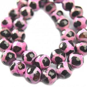Roze Agaat facet roze zwart 10mm