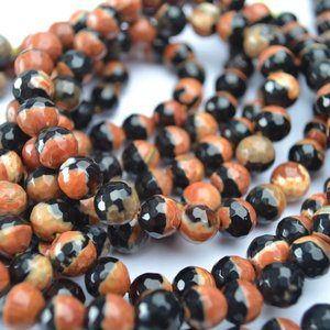 Zwart Agaat rond facet oranje zwart 8mm