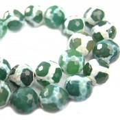 Groen Agaat facet vlekken donker groen wit 14mm